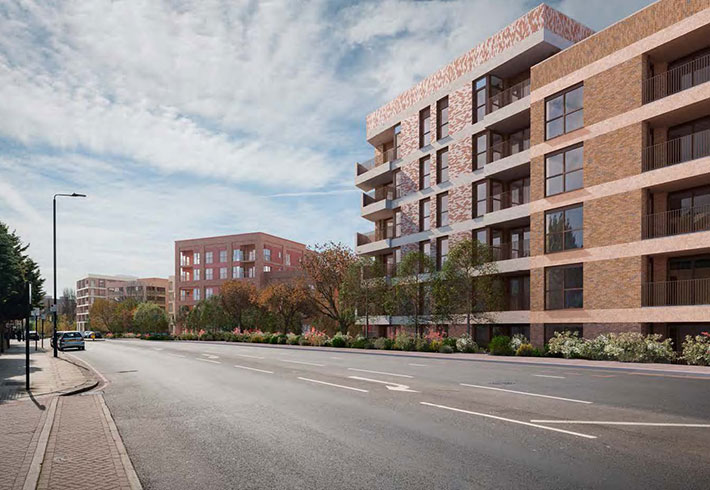 Illustrative view of the proposed development from Roehampton Lane