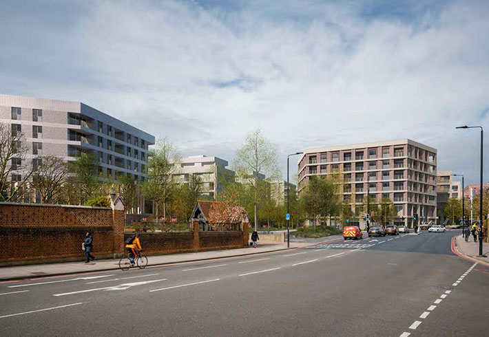 Visualisation of the proposed development from Roehampton Lane